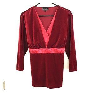 Elementz Red Velvet Blouse XL